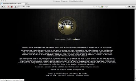 Anonymous reaction to Cybercrime Prevention Act of 2012
