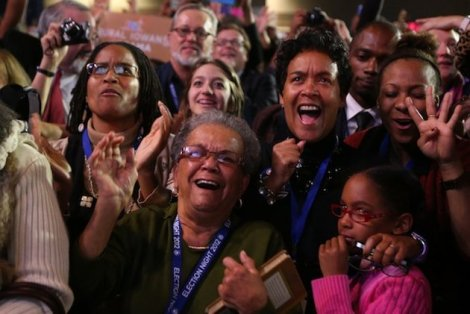 Barack Obama supporters, as they cheer for their winning bid